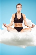 Preview iPhone wallpaper Fitness girl, yoga, clouds, sky