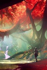 Forest, red leaves, waterfall, robot, art picture