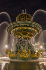 Preview iPhone wallpaper France, Paris, fountain, night