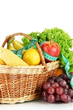 Fruit and vegetables, corn, apples, lemon, pineapple, basket