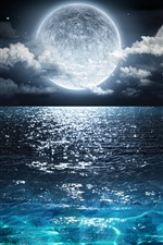 Full moon, blue sea, clouds, night, beautiful nature landscape