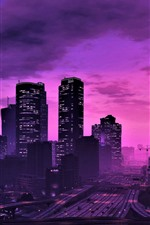 GTA 5, city at night, purple style, skyscrapers