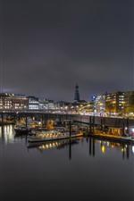 Germany, Hamburg, pier, boats, lights, river, night