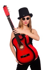 Preview iPhone wallpaper Girl and guitar, hat, glasses, white background