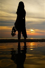 Girl back view, silhouette, beach, sea, sunset