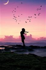 Girl, pose, birds, sea, moon, dusk, silhouette