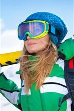 Girl, ski, winter, snow