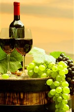 Preview iPhone wallpaper Green and red grapes, red wine, bottle, cups, barrel