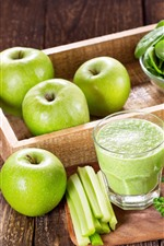 Green apples, vegetable foliage, smoothies, drinks