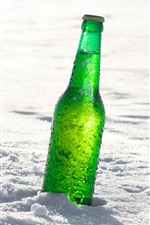 Preview iPhone wallpaper Green bottle of beer, snow
