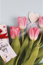 Happy Mothers Day, pink tulips, gift