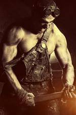 Hard worker, sledgehammer, man, glare