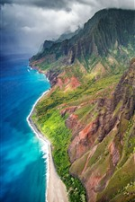 Preview iPhone wallpaper Hawaii, Kauai island, mountains, sea, USA