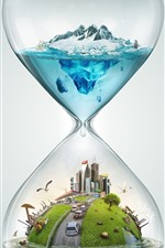 Hourglass, city, cars, polar bear, snow, sea, creative design