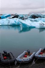 Island, blaues Eis, Boote, Meer