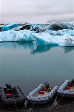 Iceland, blue ice, boats, sea