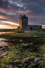 Ireland, Galway, castle, clouds, river, dusk