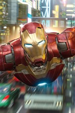 Preview iPhone wallpaper Iron Man flight, city, Marvel superhero