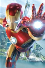 Preview iPhone wallpaper Iron Man, flight, hand, city, sky