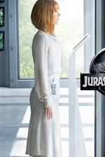 Preview iPhone wallpaper Jurassic World, blonde girl and dinosaurs
