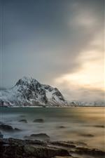 Preview iPhone wallpaper Lofoten, Norway, sea, snow, mountains, clouds, winter