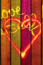 Preview iPhone wallpaper Love, colors, wood board, girl silhouette