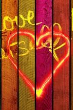 Love, colors, wood board, girl silhouette