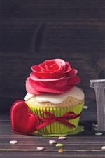 Preview iPhone wallpaper Love, cupcake, love hearts, red rose