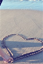 Love heart, sand, beach, girl, sea