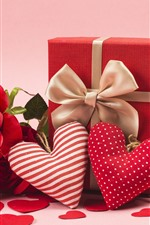 Love hearts, red roses, gift, romantic