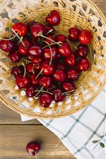 Preview iPhone wallpaper Many red cherries, basket, fruit