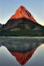 Mountain, lake, water reflection