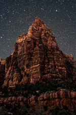 Preview iPhone wallpaper Mountain, starry, sky, night