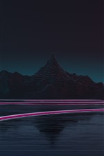 Preview iPhone wallpaper Mountains, lake, light lines, night, creative picture
