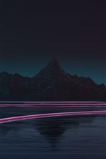 Montanhas, lago, linhas claras, noite, retrato creativo
