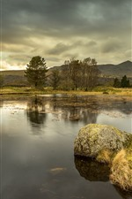 Nature scenery, pond, water, stone, grass, trees, clouds, mountains