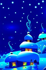 Night, snow, village, houses, trees, snowflakes, Christmas art picture