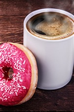 Preview iPhone wallpaper One cup of coffee and donut