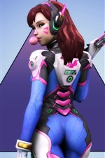 Overwatch, girl back view, gum