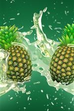 Pineapples, water splash, art picture