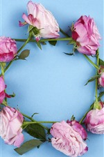 Preview iPhone wallpaper Pink roses wreath
