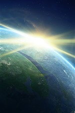 Planets, sunrise, sun rays