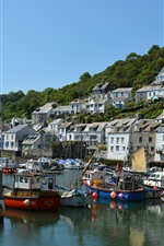 Preview iPhone wallpaper Polperro village, England, Cornwall, houses, boats, pier