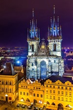 Preview iPhone wallpaper Prague, Czech Republic, beautiful city night, lights, buildings