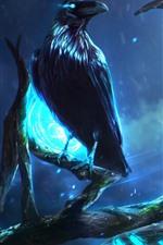 Corvo, árvore, noite, luzes, imagens de arte