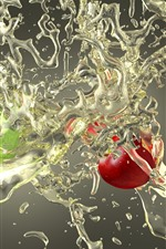 Red and green apples, water splash, creative picture
