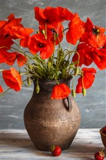 Preview iPhone wallpaper Red poppy flowers, vase, a bowl of strawberry