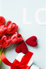 Preview iPhone wallpaper Red tulips, love, love hearts, gifts