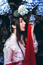 Preview iPhone wallpaper Retro style Chinese girl, blue hydrangea flowers