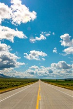 Preview iPhone wallpaper Road, blue sky, white clouds, mountains